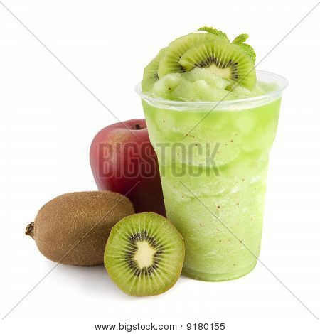 Apple And Kiwi Smoothie On White