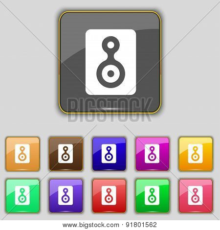 Video Tape Icon Sign. Set With Eleven Colored Buttons For Your Site. Vector
