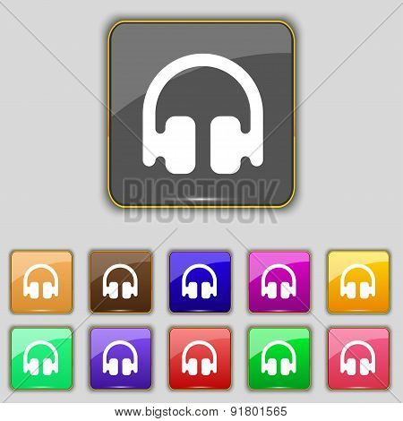 Headphones, Earphones Icon Sign. Set With Eleven Colored Buttons For Your Site. Vector