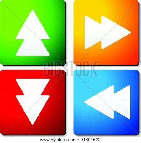 Double Arrow Symbols On Colorful Squares. Arrow Buttons, Arrow Icons. Vector.