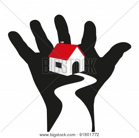 symbolic illustration of house resting on a hand