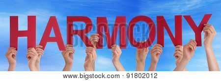 Hands Holding Red Straight Word Harmony Blue Sky