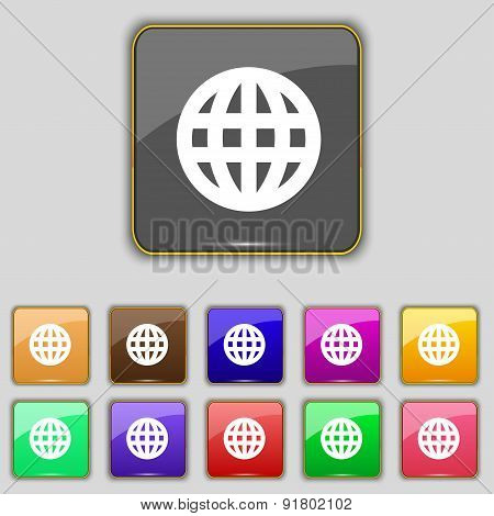Globe, World Map Geography Icon Sign. Set With Eleven Colored Buttons For Your Site. Vector