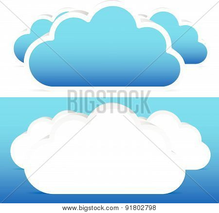 Composition Of Three 3D Clouds Over And Blue Vector Illustration.