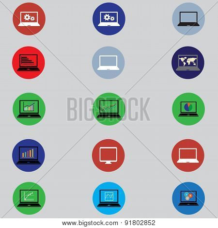 Set Of Icons With Computers In Flat Design