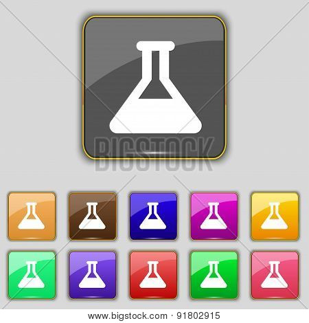 Conical Flask Icon Sign. Set With Eleven Colored Buttons For Your Site. Vector