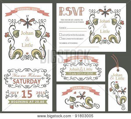 Vintage wedding design template set.Floral decor