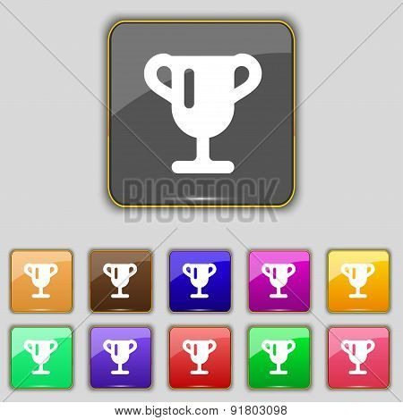 Winner Cup, Awarding Of Winners, Trophy Icon Sign. Set With Eleven Colored Buttons For Your Site. Ve