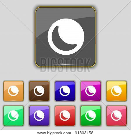 Moon Icon Sign. Set With Eleven Colored Buttons For Your Site. Vector