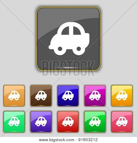 Auto Icon Sign. Set With Eleven Colored Buttons For Your Site. Vector