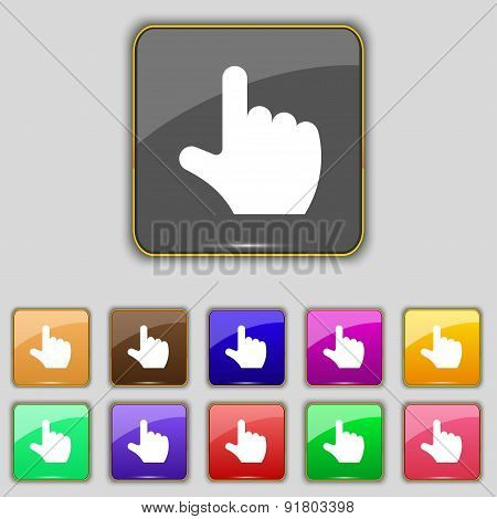 Pointing Hand Icon Sign. Set With Eleven Colored Buttons For Your Site. Vector