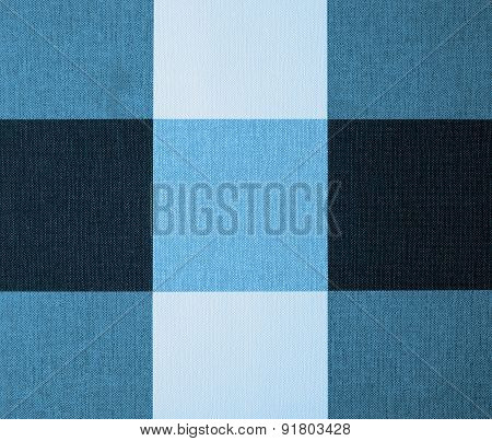 White, Grey And Blue Gingham Tablecloth