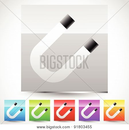 Glossy Square Magnet Icons. Vector Graphics.