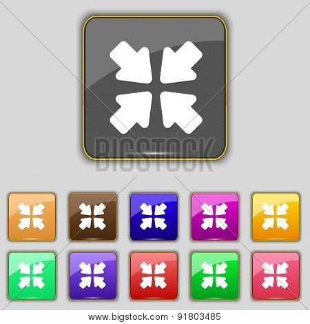 Turn To Full Screen Icon Sign. Set With Eleven Colored Buttons For Your Site. Vector
