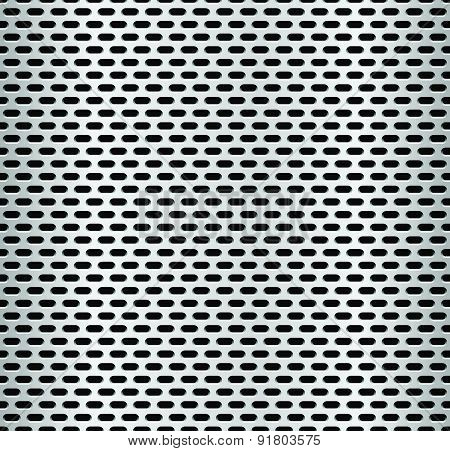 Seamless Metal Swatch. Perforated Metal Pattern With Black Holes. Industrial Background.