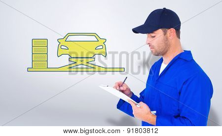 Mechanic writing on clipboard over white background against grey vignette