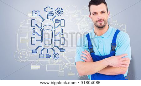 Male handyman standing arms crossed against grey vignette