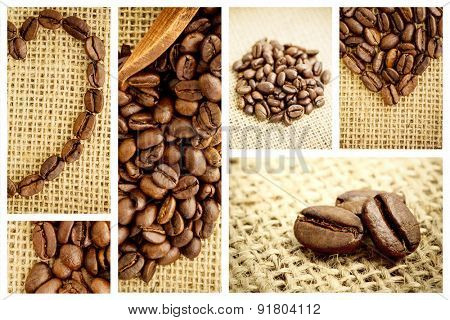 Wooden shovel with coffee beans against heart made from roasted coffee beans