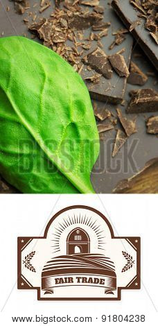 Fair Trade graphic against chocolate and basil