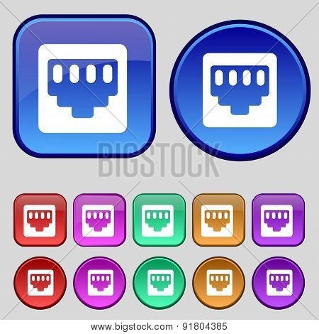 Cable Rj45, Patch Cord Icon Sign. A Set Of Twelve Vintage Buttons For Your Design. Vector