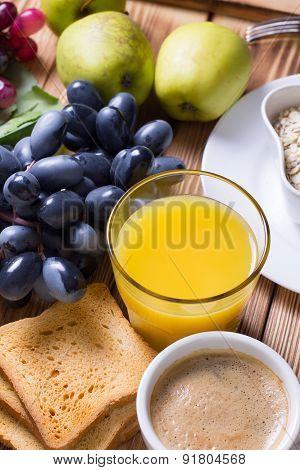 Breakfast Set With Fruits And Orange Juice