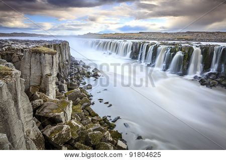 Long exposure image of Selfoss waterfall on Jokulsa a Fjollum river in Iceland