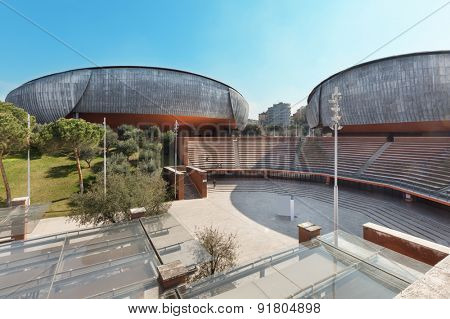 ROME, ITALY - MARCH 14, 2015: View from external of the Auditorium Parco della Musica, structure dedicated entirely to art. Architect, Renzo Piano