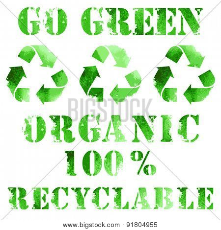 Green eco poster, recycle logo and text