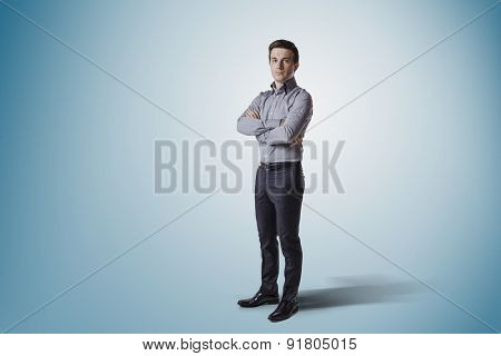 creative business man on blue gradient background