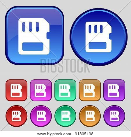Compact Memory Card Icon Sign. A Set Of Twelve Vintage Buttons For Your Design. Vector