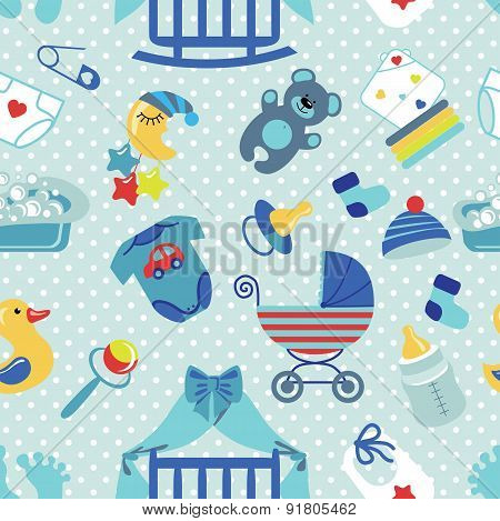 Newborn Baby boy seamless pattern.Polka dot