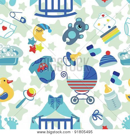 Newborn Baby boy seamless pattern