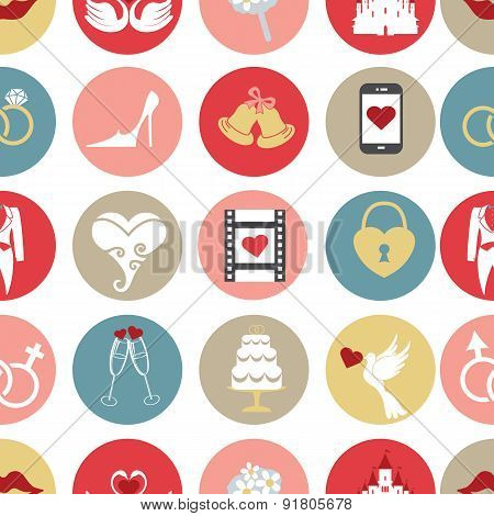 Cute flat wedding icons in seamless pattern