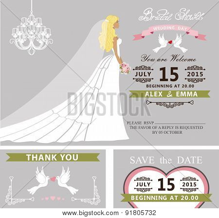 Bridal shower template set.Bride,dress,veil