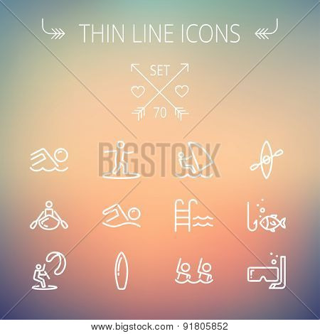 Sports thin line icon set for web and mobile. Set includes- wind surfing, pool, swimming, surfboarding, kayak, wind surf, snorkeling, fishing icons. Modern minimalistic flat design. Vector white icon