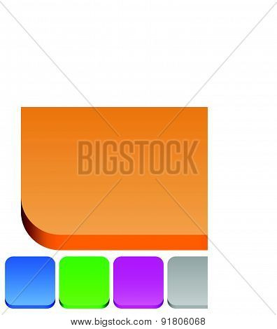 3D Squares With Rounded Corners In 6 Colors: Brown, Blue, Green, Purple, Gray And Red Button Backgro