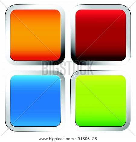 Colorful Squares With Rounded Corners And Metallic Borders. Blank Orange, Red, Blue And Green Square