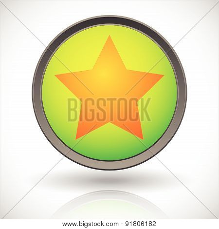 Star In A Circle Icon. Vector Graphics.