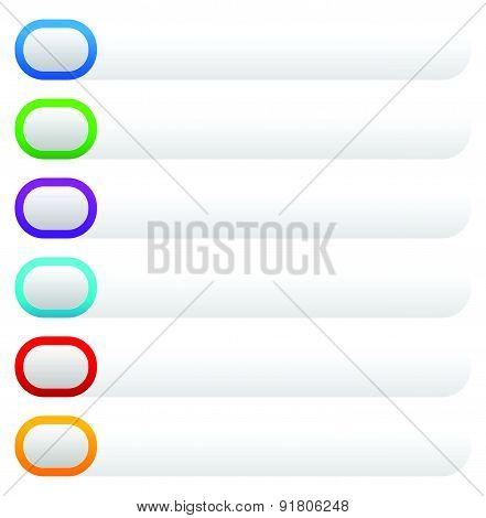 Set Of Bright, Colorful Button Or Banner, Tag, Label Backgrounds With Blank Space. Vector.