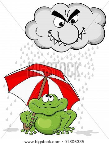 Cartoon Frog With Umbrella And Rain Cloud