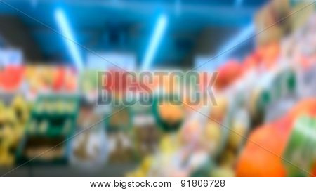 The interior of a supermarket sales area blurred background