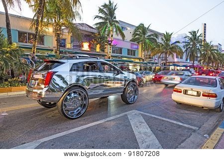 Cars At Ocean Drive In South Beach In The Evening