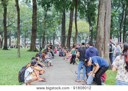 Saigon, Vietnam - Oct 12: Unidentified Young People Enjoying A Park In Saigon (ho Chi Minh), Vietnam