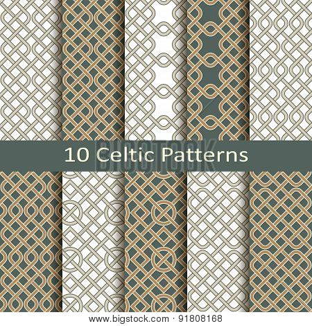 set of ten celtic patterns