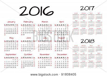 English Calendar 2016-2017-2018 vector illustration red and black
