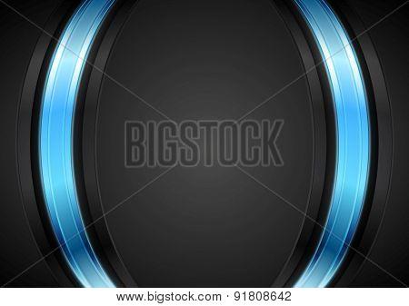 Dark corporate background with glow blue light. Vector design