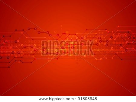 Red bright abstract technical background. Vector design