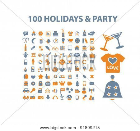 100 holidays, party icons, signs, illustrations set, vector