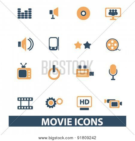 movie, cinema icons, signs, illustrations set, vector