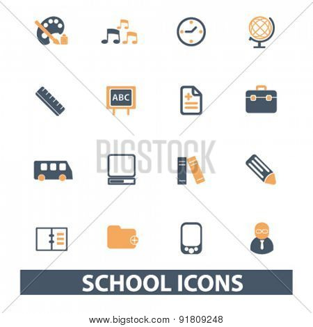 school icons, signs, illustrations set, vector